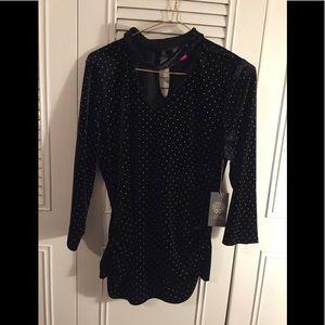 Vince Camuto velvet blouse, size L, new